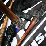 AR-15 Rifle and Barbwire Wrapped Baseball Bats